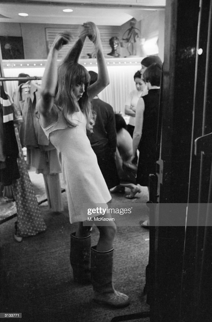 English fashion model and the wife of Beatle, <a gi-track='captionPersonalityLinkClicked' href=/galleries/search?phrase=George+Harrison&family=editorial&specificpeople=90945 ng-click='$event.stopPropagation()'>George Harrison</a>, Patti Boyd backstage at a fashion show.