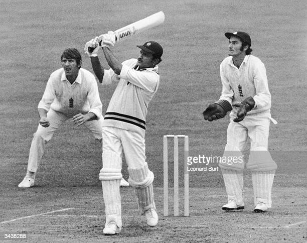 Left handed Indian cricketer Ajit Laxman Wadekar batting in India's first innings during the third test at the Oval The wicket keeper is Alan Knott