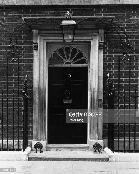 The famous doorway to the residence of the English Prime Minister 10 Downing Street in London