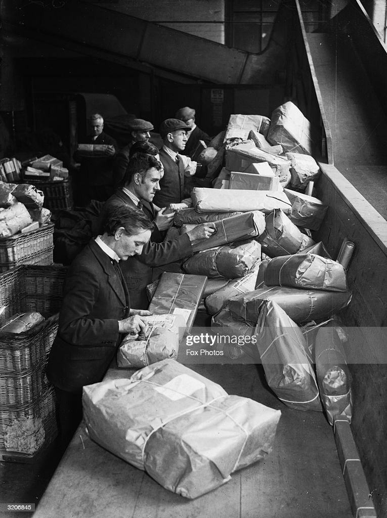 Parcel sorters at a Post Office in Manchester.