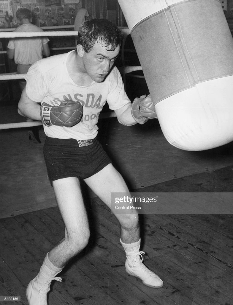 John Caldwell, the world bantamweight champion from Belfast, training at the Thomas A'Beckett gymnasium in London, for his title fight against Eder Jofre.
