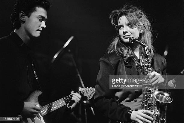 Dutch sax player Candy Dulfer performs live on stage with Ulco Bed at the Paradiso in Amsterdam Netherlands on 21st January 1989