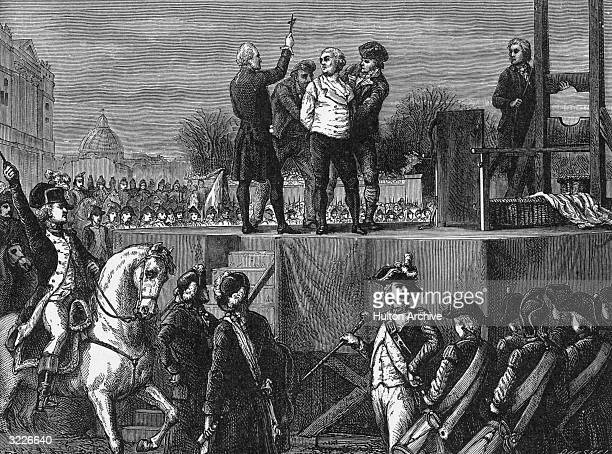 King Louis XVI of France with his confessor before his execution by guillotine in the Place de la Revolution Paris
