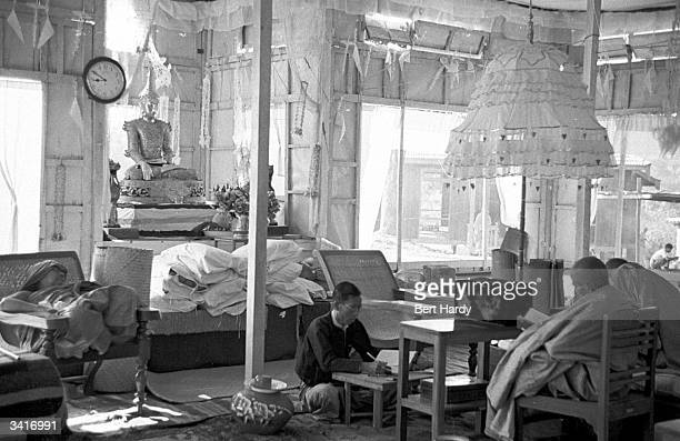A Buddhist master reading in the temple study Original Publication Picture Post 4748 Inside The Temples Of Burma pub 1950