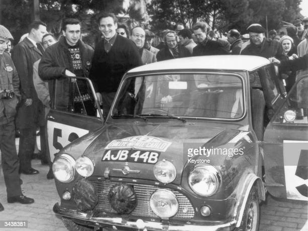 Finnish rally driver Timo Makinen and his codriver Paul Easter with the Mini Cooper in which they won the Monte Carlo Rally