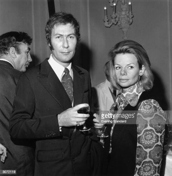 Playwright John Osborne with his wife actress Jill Bennett at the Evening Standard Drama Awards Comedian Frankie Howerd is in the background
