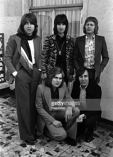 21st January 1972 Group portrait of The Hollies Tony Hicks lead guitar Terry Silvester rhythm guitar Bobby Elliot drums Mikael Rickfords vocalist and...