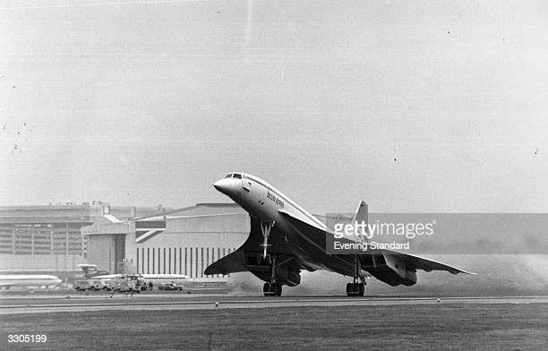Concorde takes off from Heathrow Airport London on her first commercial flight for British Airways