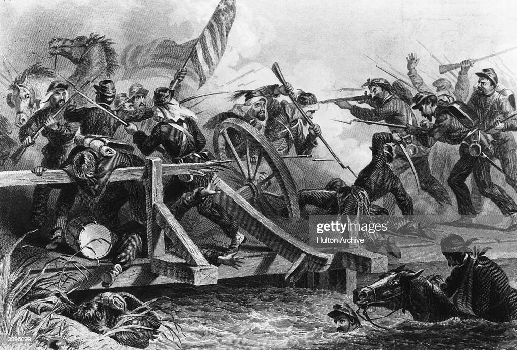 A violent exchange between the Yankees and Confederates at the First Battle of Manassas during the American Civil War Original Artwork Engraving by...