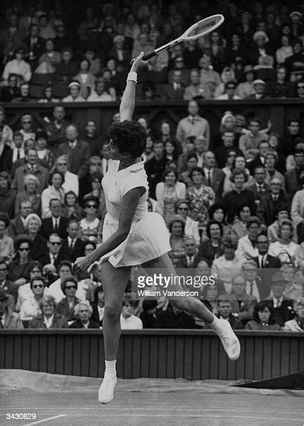 Margaret Smith of Australia in play on the centre court at Wimbledon