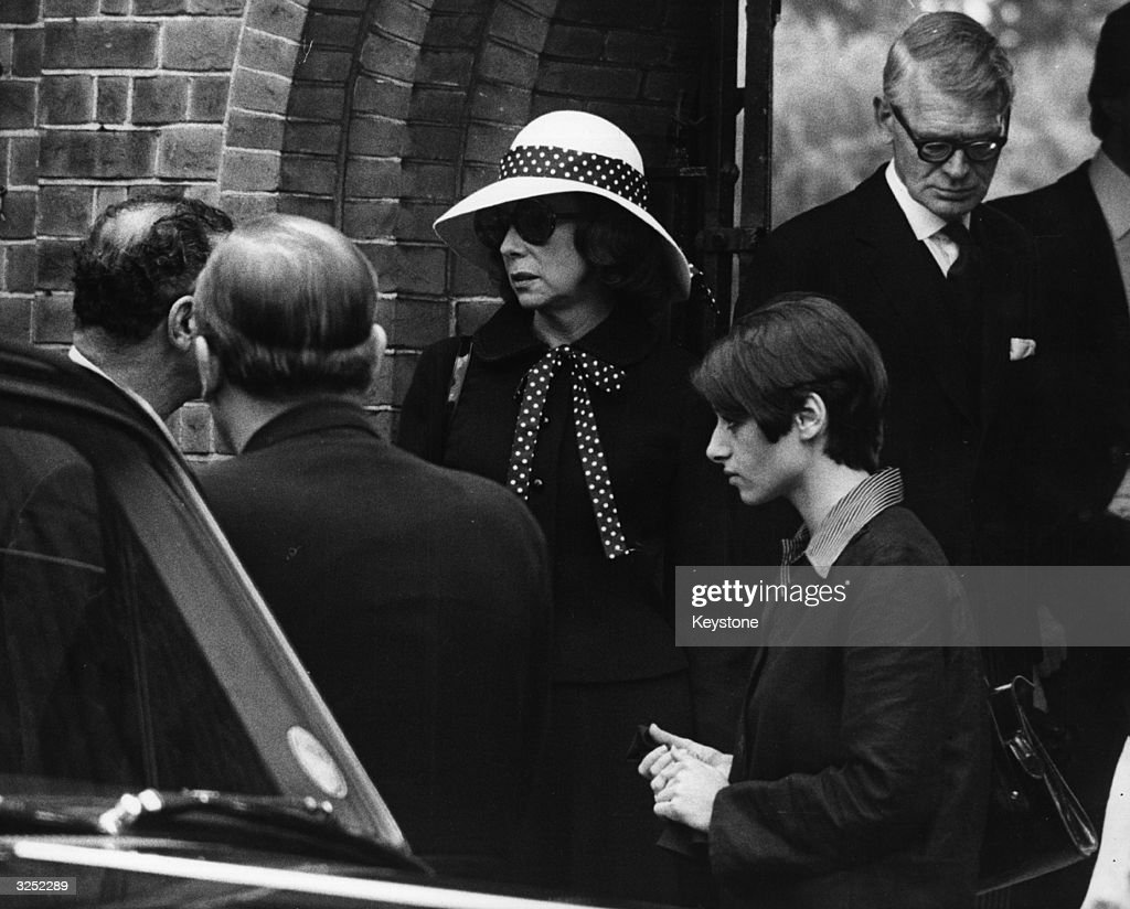 The funeral of Jack Hawkins the British film star at Golders Green crematorium His widow Doreen is seen leaving after the funeral