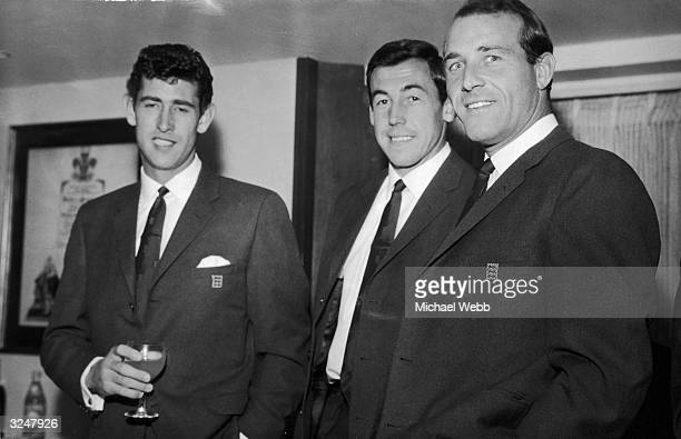 From left to right goalkeepers Peter Bonetti Gordon Banks and Ron Springett wear their new World Cup uniforms to the AngloAmerican Sporting Club...