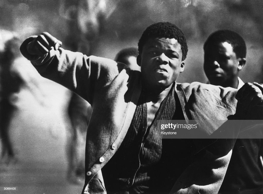 A rioter in Soweto, South Africa.