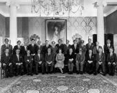 British Prime Minister Margaret Thatcher sits with her new Cabinet at No 10 Downing Street in London Left to right Norman Fowler Transport Minister...