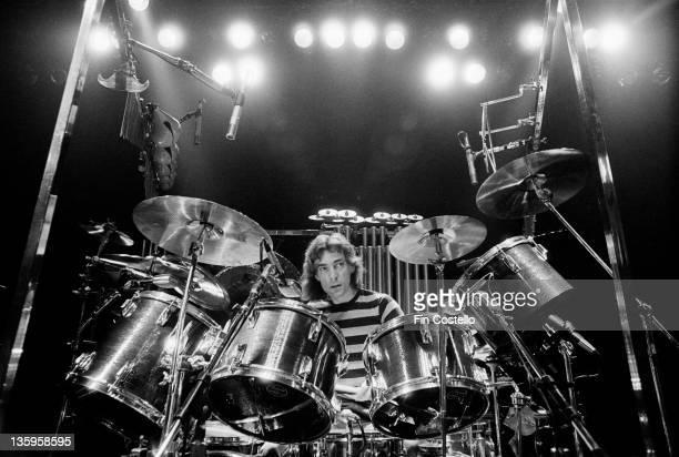 Drummer Neil Peart of Canadian progressive rock band Rush at his kit during a soundcheck at the De Montfort Hall Leicester 21st June 1980