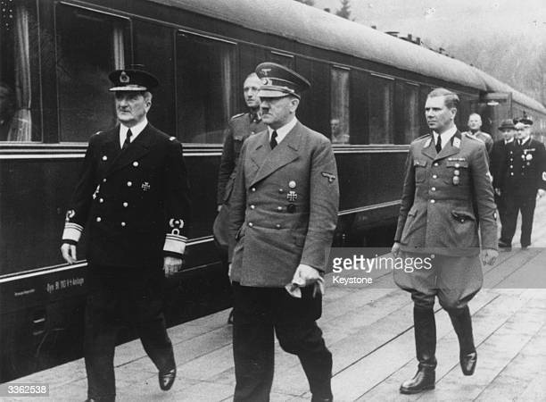 Adolf Hitler with Hungarian Admiral Horthy and Nazi Party Leader Martin Bormann Hitler met the Hungarian High Quisling on his arrival in a special...