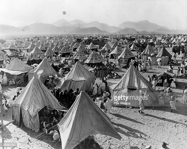 A muslim encampment during the pilgrimage to Mecca in Saudi Arabia