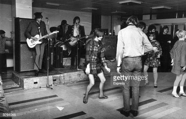 Students at the London School of Economics dance to the psychedelic pop sounds of group The Soft Machine to break the boredom of their sitin