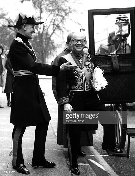 Monsieur Robert Rothschild the Belgian Ambassador to London in full ceremonial attire as he leaves by coach to present his credentials to the Queen...