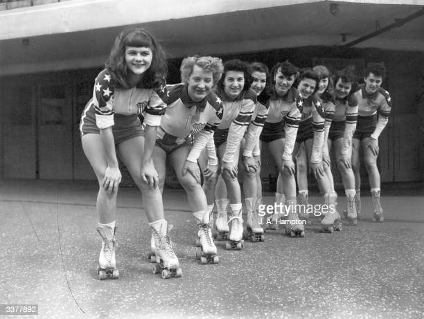 Girls of the New York Chiefs outside Haringey arena before a roller derby between America and Europe