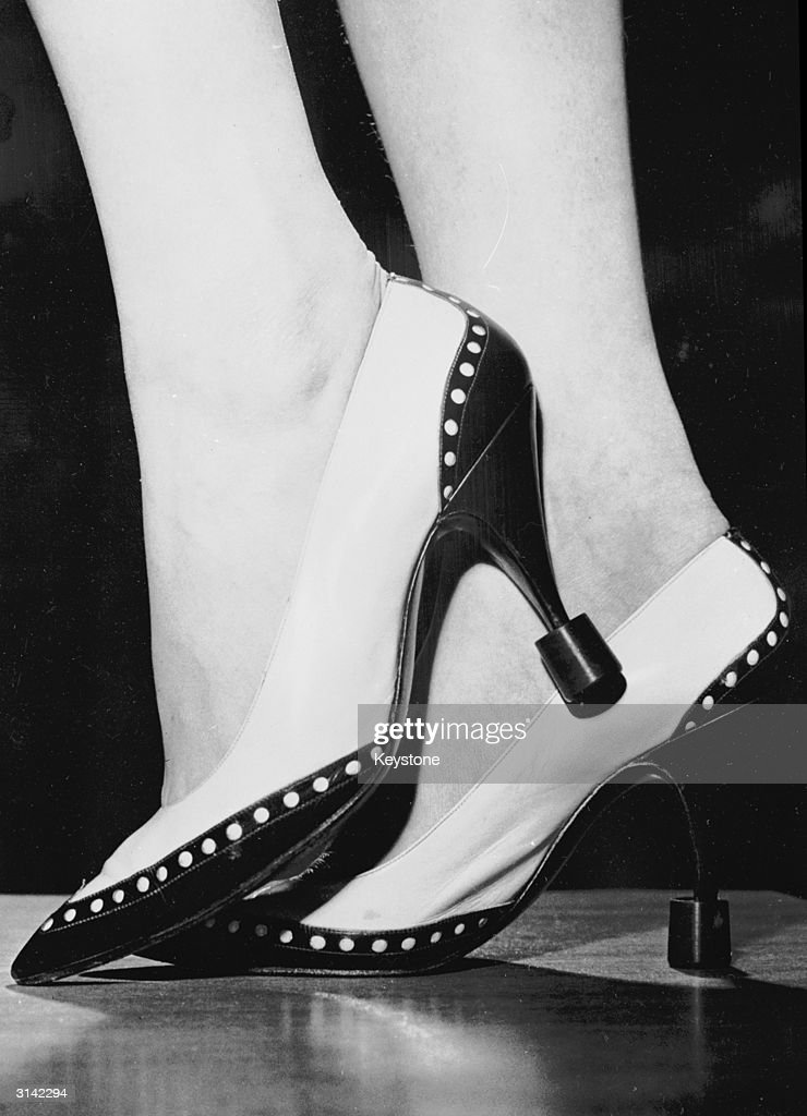 A pair of stiletto shoes with detachable 'Blunt Tips', designed by Wolfgang Schmid of Stuttgart, Germany.