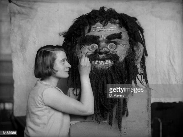 Pantomime figureheads are carved at Kennington London for a production of 'Jack And The Beanstalk'