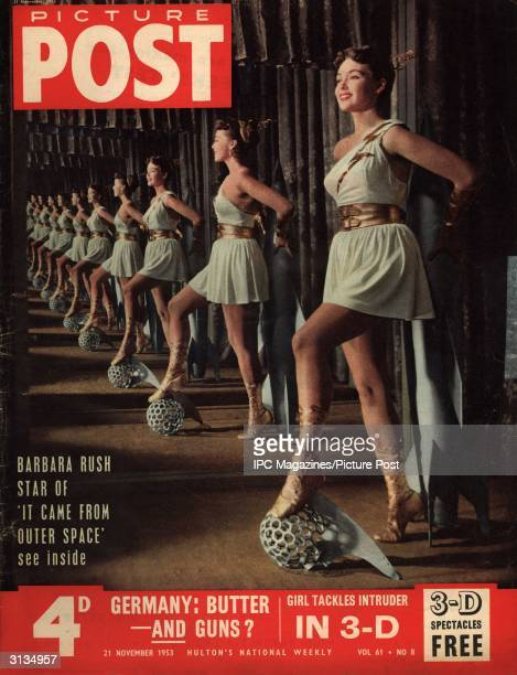Film actress Barbara Rush star of 'It Came From Outer Space' poses in a costume of tunic and laceup boots Original Publication Picture Post Cover pub...