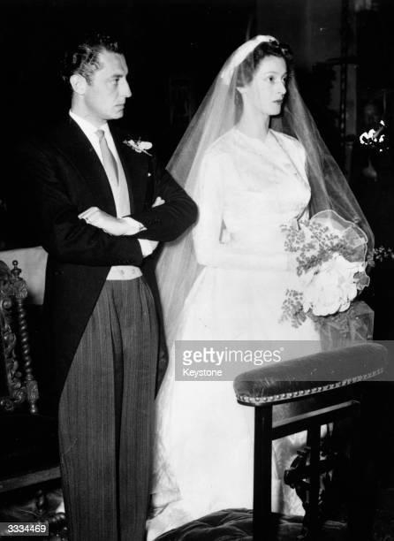 Italian car magnate Gianni Agnelli head of the Fiat motor Organisation marrying Princess Marella Caracciolo daughter of the head of the Italian...
