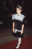 Fulllength view of American actor Drew Barrymore standing on a red carpet at a Radie Harris Luncheon Tribute Beverly Hills Hotel California She is...
