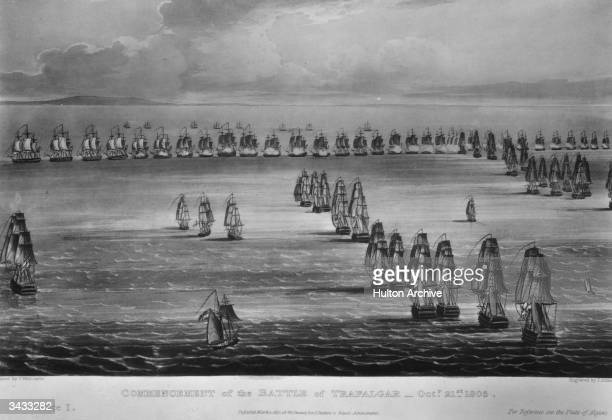 The fleet arrayed at the start of the Battle of Trafalgar the famous naval engagement between the British fleet under Horatio Nelson and the French...