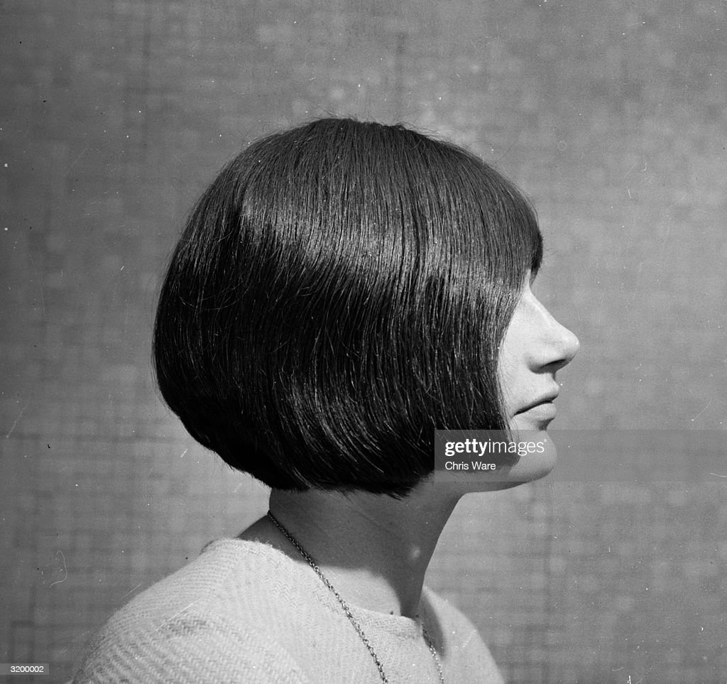 Jillian Robertson of Australia with a 'lopsided' hairstyle by Roger, (aka 'king of the with-it hairdressers'), at Vidal Sassoon.