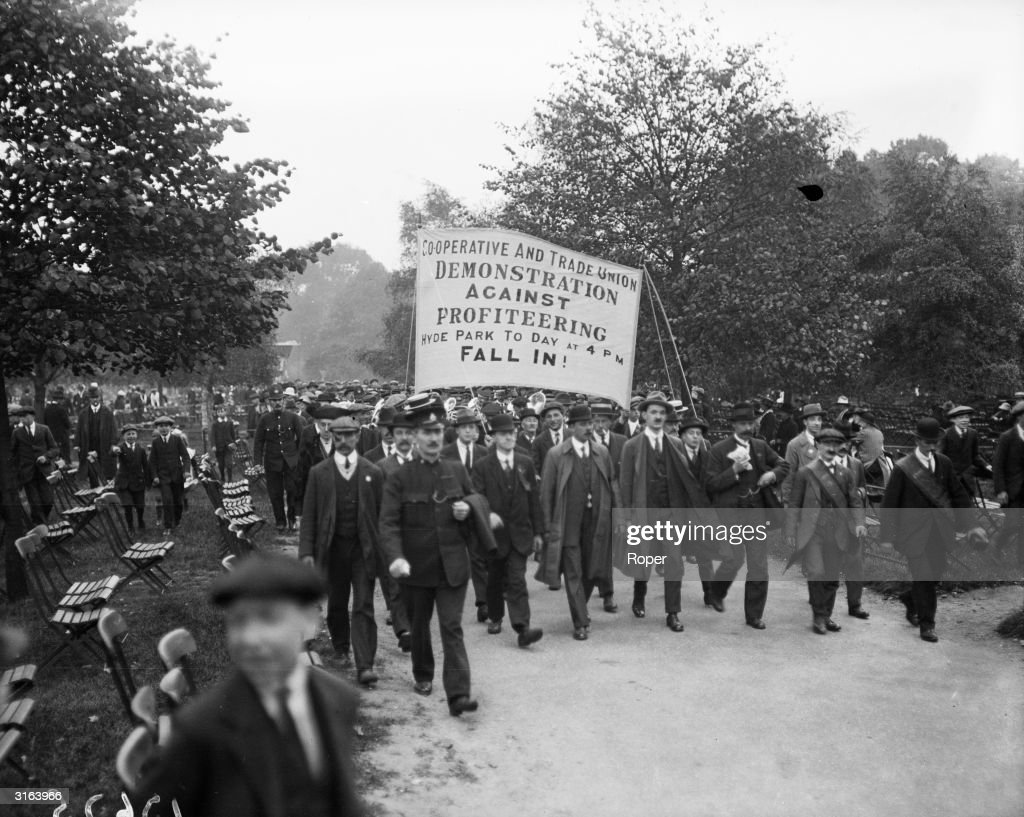 Cooperative and Trade Union members on an antiprofiteering demonstration in Hyde Park London