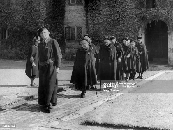 Cassocked and caped pensioners stroll across the quadrangle of Sackville College for pensioners in East Grinstead Only those resident in Sussex over...