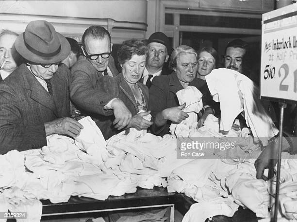 Shoppers scramble for sale bargains in the men's underwear section of Pontings department store in Kensington London The sale is stock from Palmers...