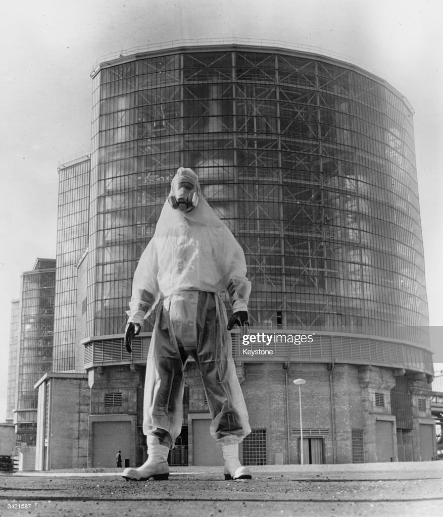 John Miller, Health and Physics foreman, wearing his protective 'space suit' at Hunterston Atomic Power Station in Ayrshire.
