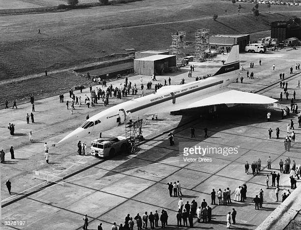 The AngloFrench supersonic airliner Concorde 001 assembled in France on display at the British Aircraft Corporation's assembly line at Filton Bristol...