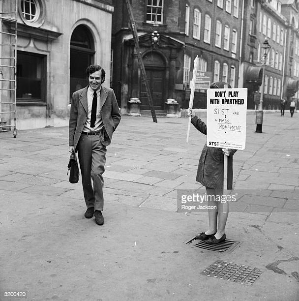 Peter Hain the leader of the Young Liberals and leader of 'Stop The Seventy Tour' committee at Bow Street Magistrates Court to answer summonses...