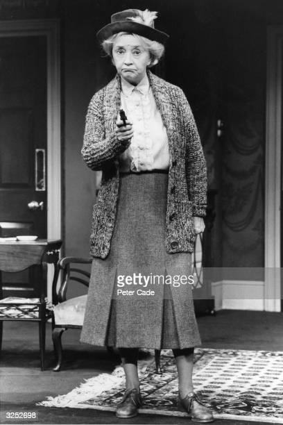 Dulcie Gray British actress plays the role of Miss Marple in a scene from a new Agatha Christie play 'A Murder Is Announced'