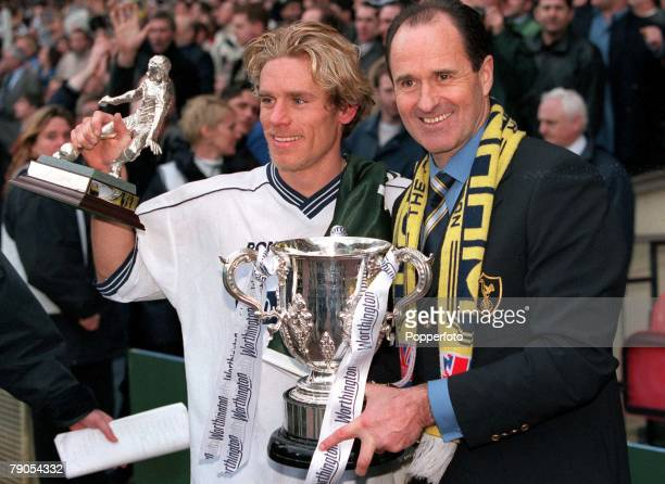 21th March 1999 Worthington Cup Final Wembley Tottenham Hotspur 1 v Leicester 0 Spurs manager George Graham and goalscorer Allan Neilson celebrate at...