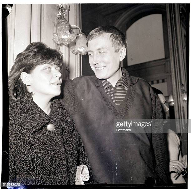2/20/1963Paris France Poet Yevgeni Yevtushenko considered Russia's 'angry young man' and his wife Galina look at each other in a poetic mood after a...