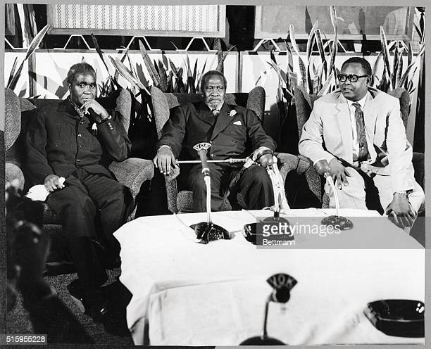 2/20/1969Nairobi Kenya Presidents Kenneth Kaunda of Zambia and Jomo Kenyatta of Kenya are shown with Prime Minister Mohamed Ibrahim Egal of Somalia...
