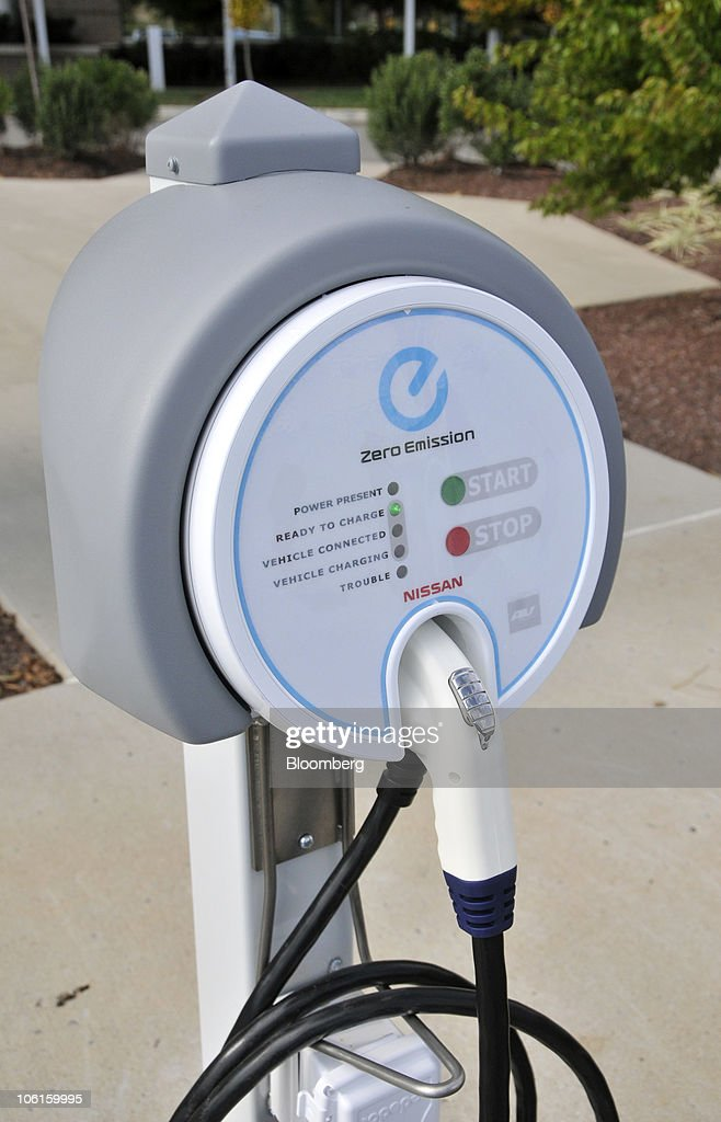 A 220volt charging station for the Nissan Leaf electric car stands outside Nissan Motor Co's headquarters in Franklin Tennessee US on Tuesday Oct 26...