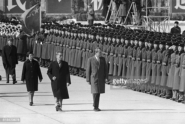 2/21/1972Peking China President Richard Nixon and Chinese Premier Chou EnLai review the Honor Guard following Nixon's arrival at Peking Airport
