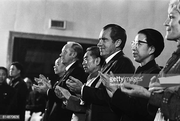 2/22/1972Peking China Primier Chou Enlai President Nixon ans Mme Chiang Ch'ing wife of Mao Tsetung applaud at the conclusion of an heroic ballet at...