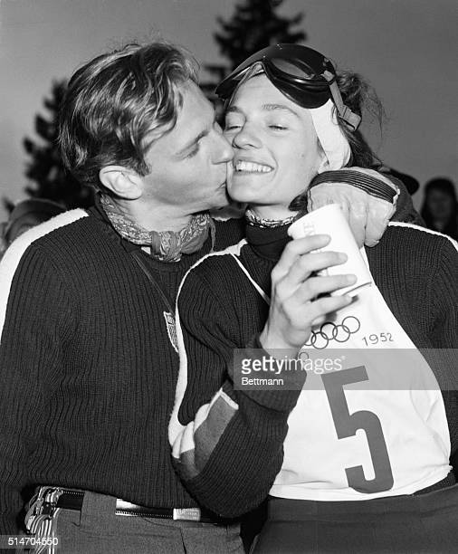 Skierhusband Dave gives his wife Andrea MeadLawrence a victory kiss following her win in the women's slalom ski race at Rodkleiv on Feb 20 By doing...