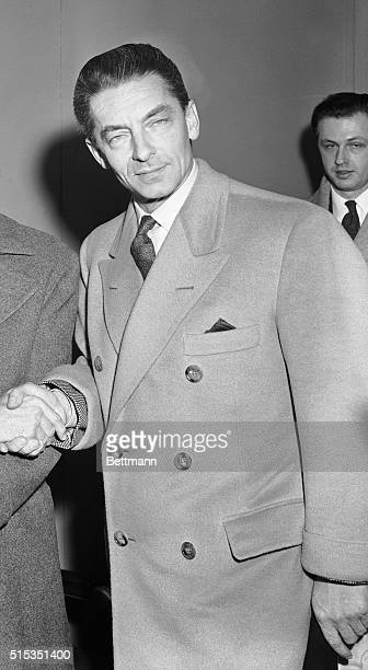 2/24/1955New York Photo of Herbert von Karajan conductor of the Berlin Symphony Orchestra on his arrival by plane in New York today