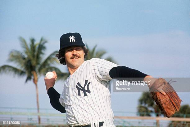 Yankees' pitcher 'Catfish' Hunter shown in first day of Spring training here