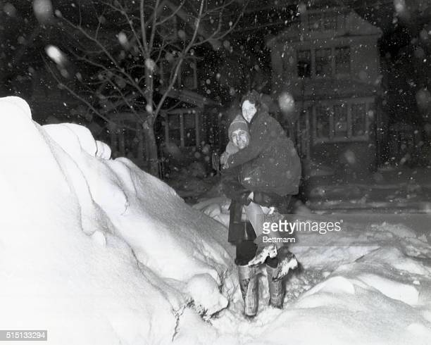 2/26/1934Bellrose NY Snowdrifts were so high in Bellrose during the fierce blizzard that raged Feburary 26th that walking was made almost impossible...