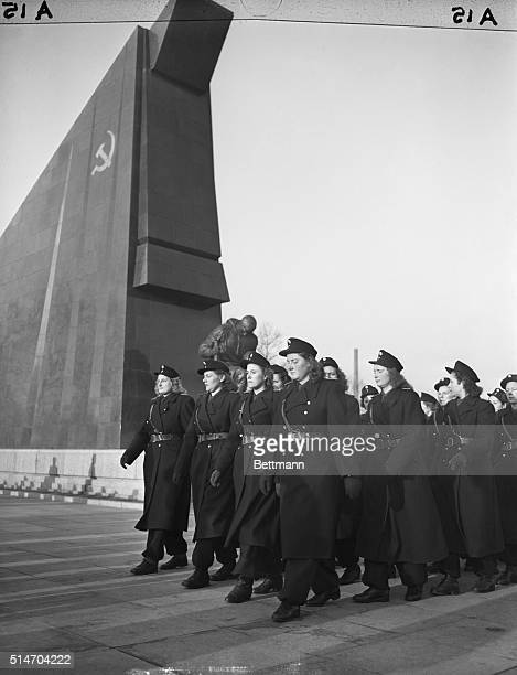 2/26/50Treptow Germany A detachment of Russian Women Army officers march past the Soviet War Memorial in the Russian sector after placing a wreath to...