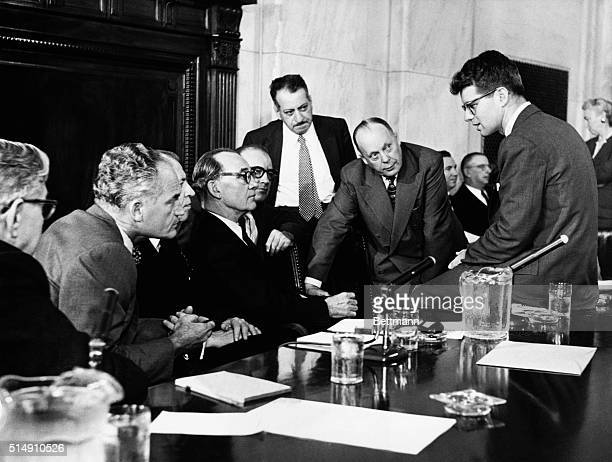 2/27/1957Washington DCMembers of the Select Senate Committe on Labor from left Senators Pat McNamara MI Barry Goldwater AZ Irving Ives NY Chairman...